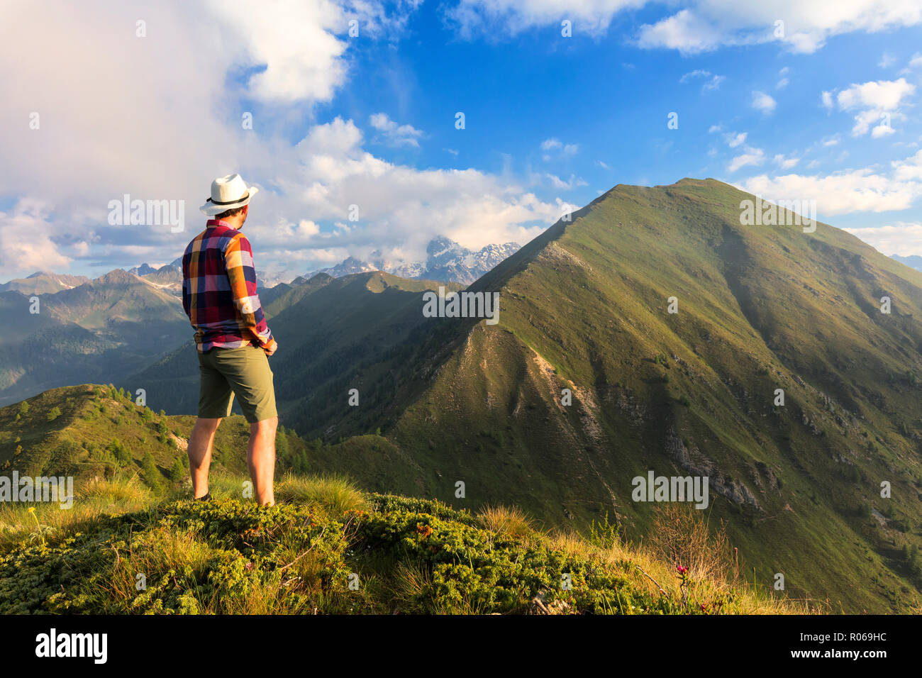 Man on top of Monte Rolla looks to Monte Disgrazia and Sasso Canale, Sondrio province, Valtellina, Lombardy, Italy, Europe - Stock Image