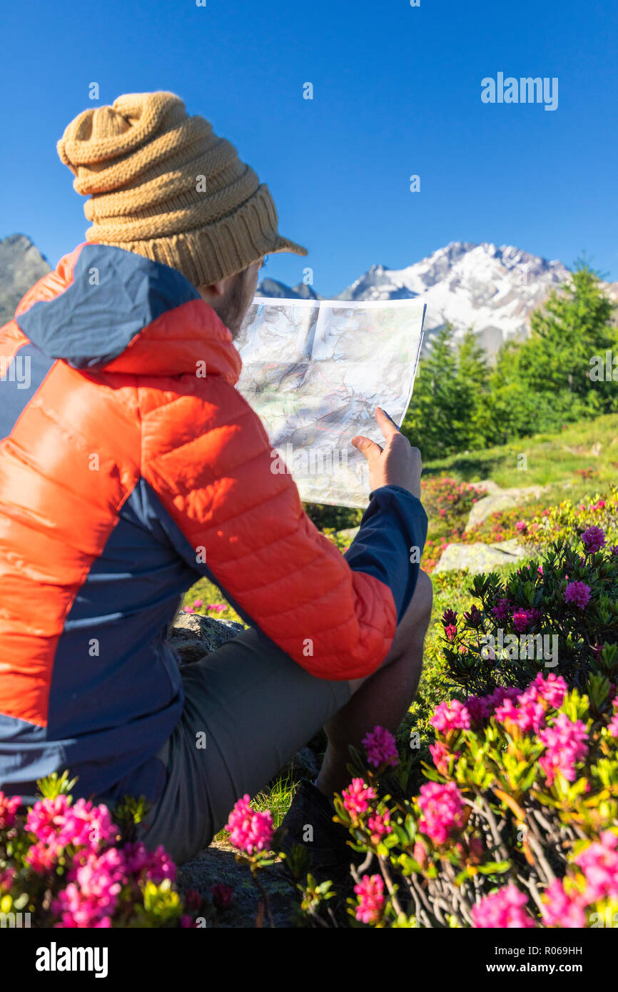 Hiker looking at map, Scermendone Alp, Sondrio province, Valtellina, Rhaetian Alps, Lombardy, Italy, Europe - Stock Image