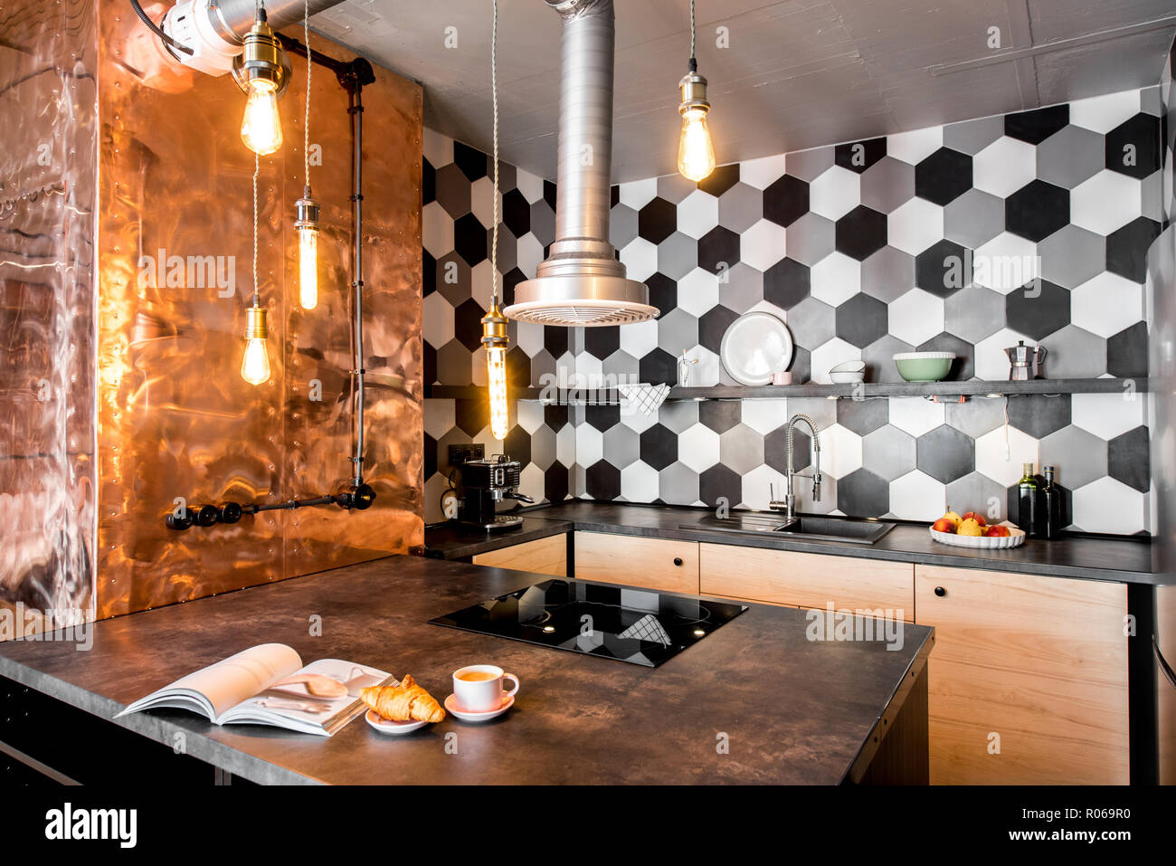 Modern Loft Kitchen Room Made In Pink And Grey Colors With Copper Wall And Hexagonal Tiles Stock Photo Alamy