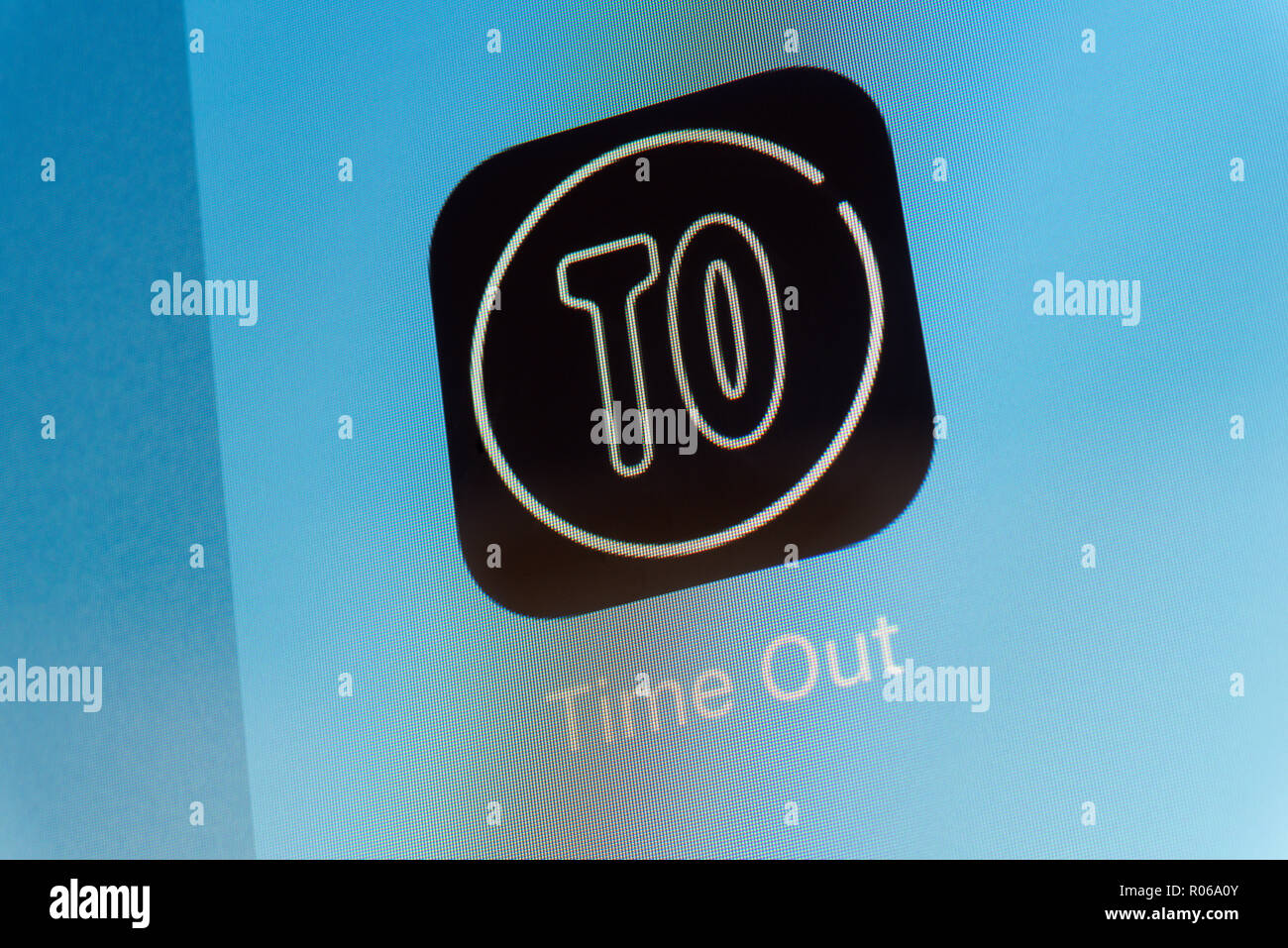 Time Out App on cellphone screen - Stock Image