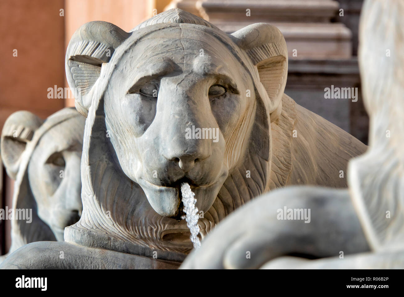 Close up shot of a statue of an egyptian lion in the Fontana dell'Acqua Felice ,  Rome Italy - Stock Image