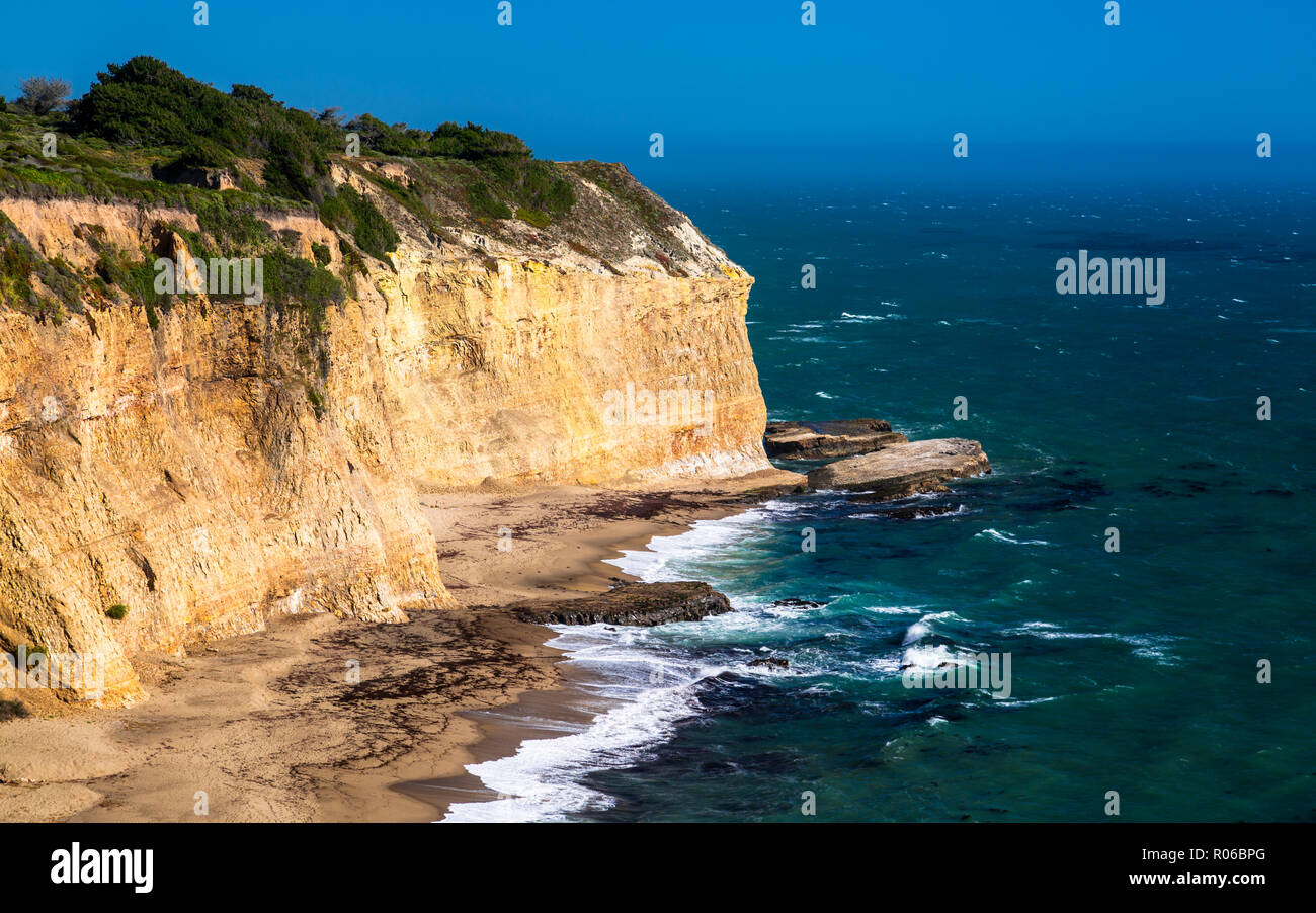 View of beach and cliffs on Highway 1 near Davenport, California, United States of America, North America Stock Photo