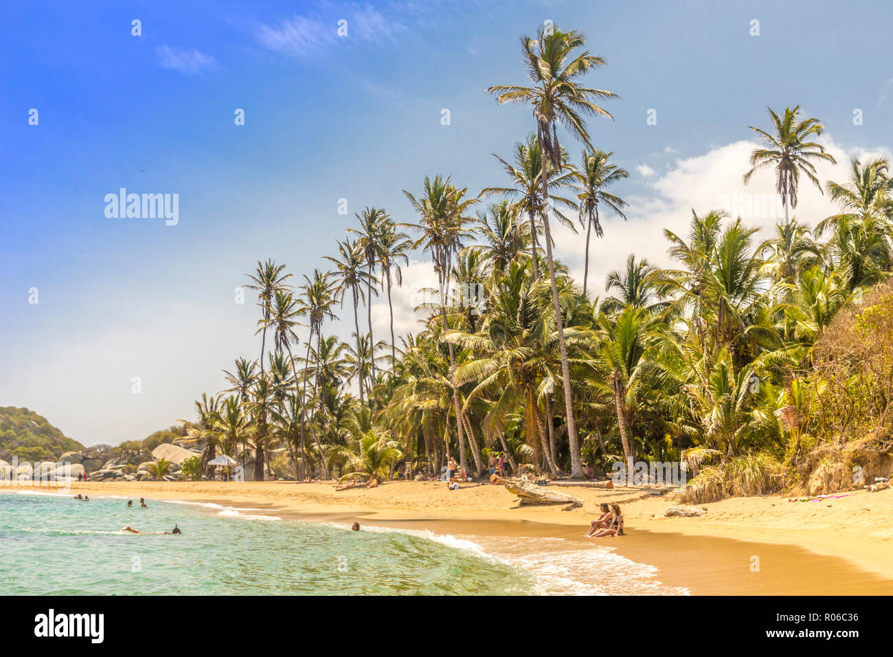 A view of the Caribbean beach at Cabo San Juan in Tayrona National Park, Colombia, South America - Stock Image