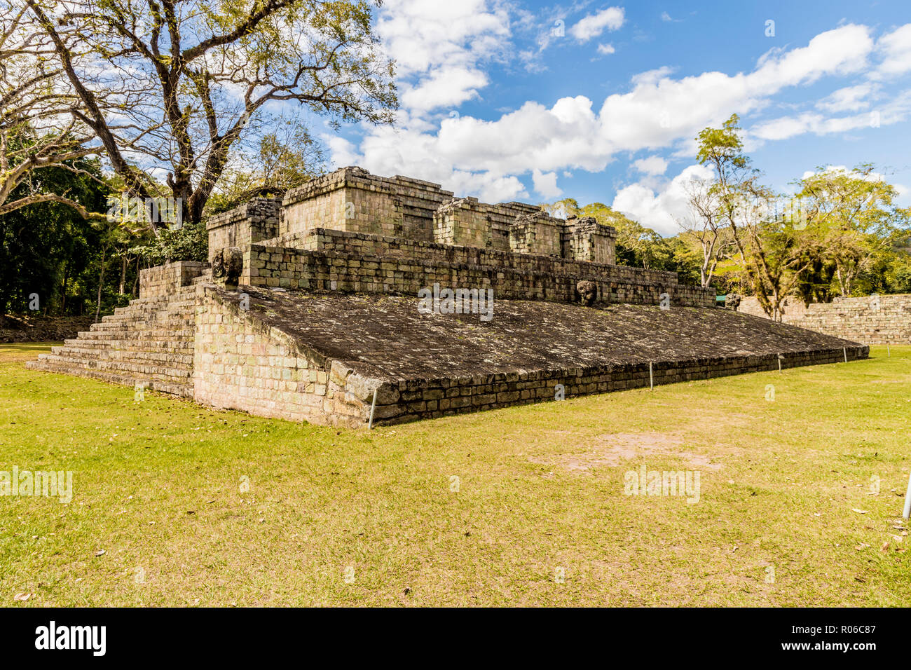 Ball Court, in the archaeological site of the Maya civilization, at Copan Ruins UNESCO World Heritage Site, Copan, Honduras, Central America - Stock Image