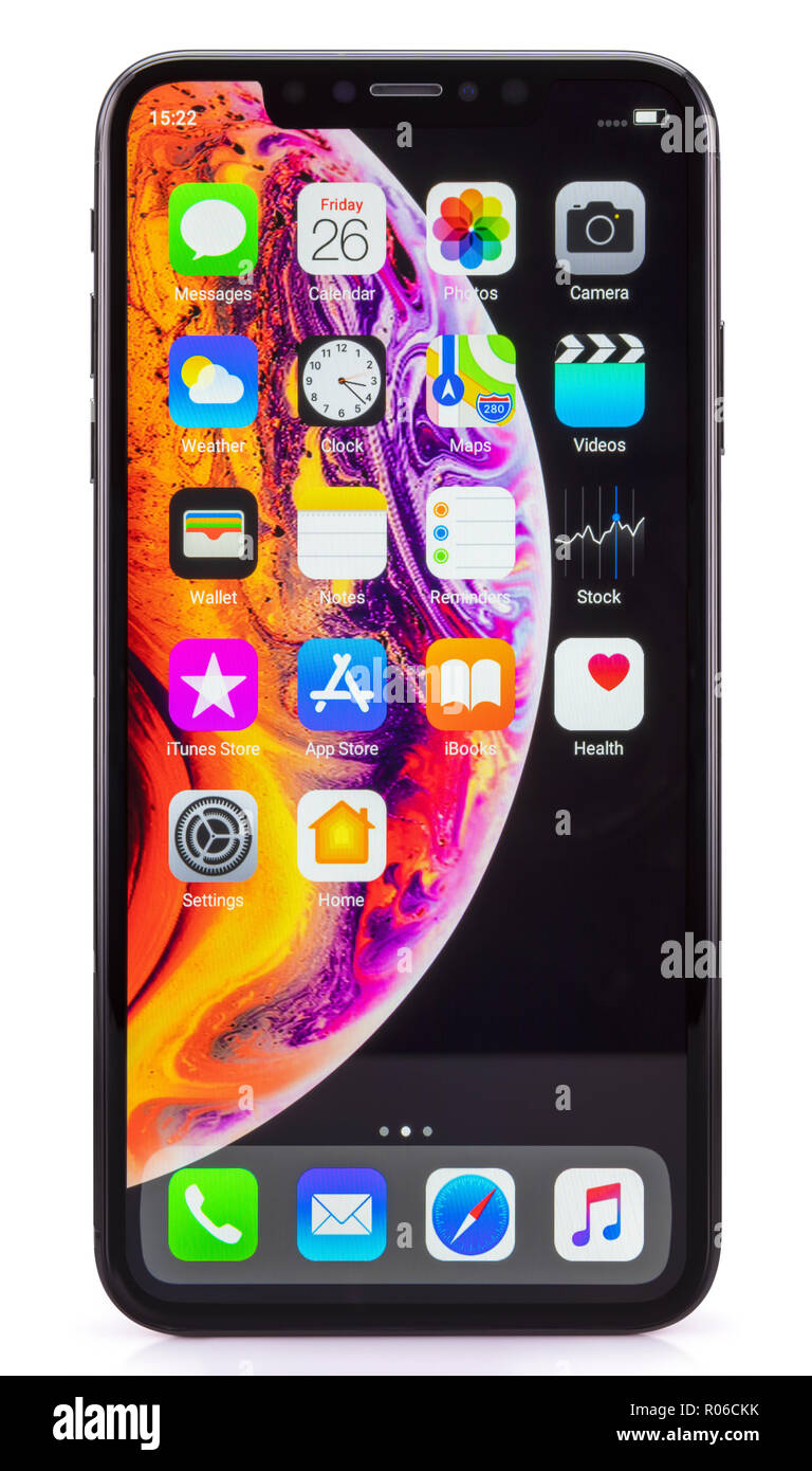 Galati, Romania - October 26, 2018: Apple launch the new smartphone iPhone XS and iPhone XS Max. iPhone Xs Max on white background. - Stock Image