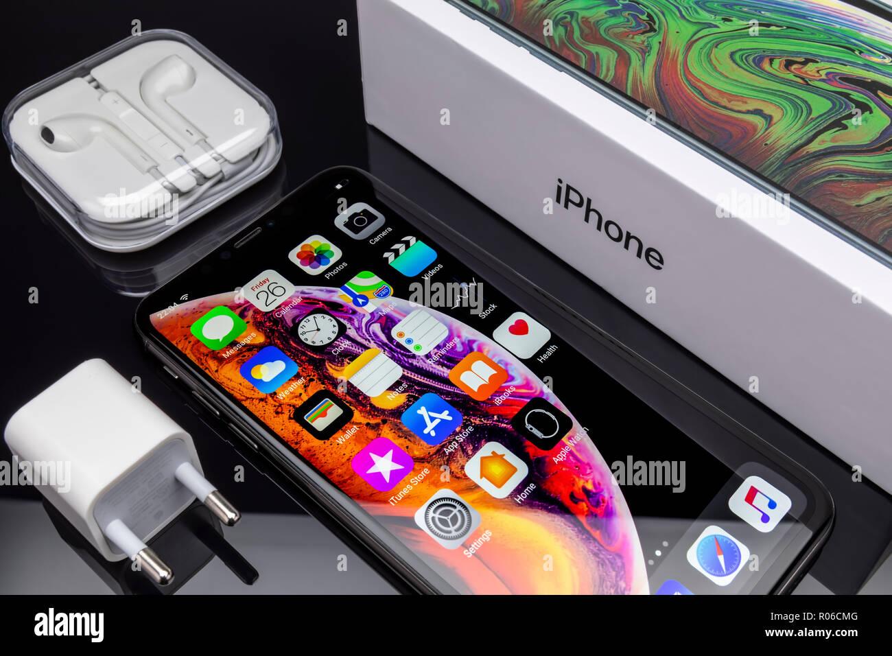 Galati, Romania - October 26, 2018: Apple launch the new smartphone iPhone XS and iPhone XS Max. iPhone Xs Max on black background. - Stock Image