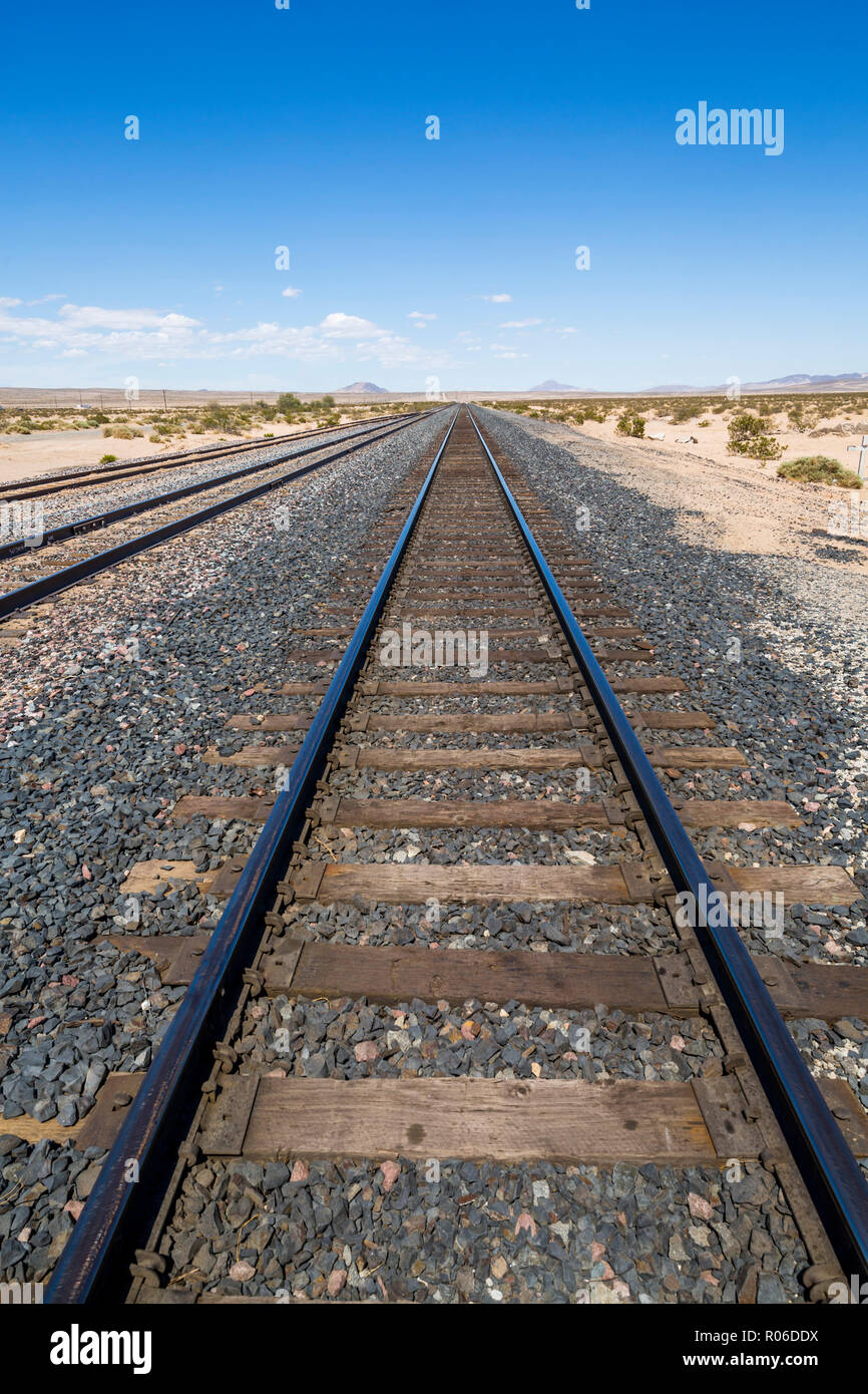 View of railway line close to Highway 15 in California, United States of America, North America - Stock Image