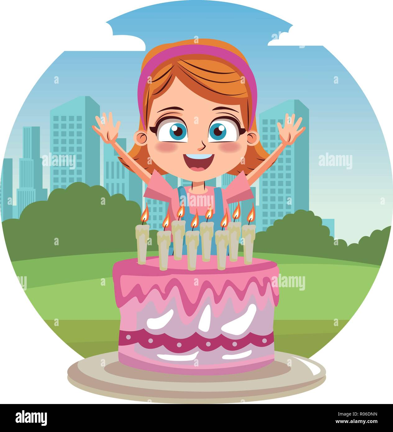 Astounding Girl Birthday Party With Cake Cartoon Over Cityscape Round Icon Funny Birthday Cards Online Alyptdamsfinfo