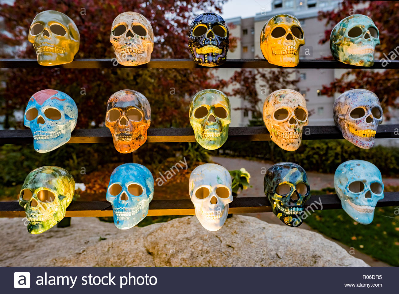 Halloween shrine skulls, Emery Barnes Park, Vancouver, British Columbia, Canada - Stock Image