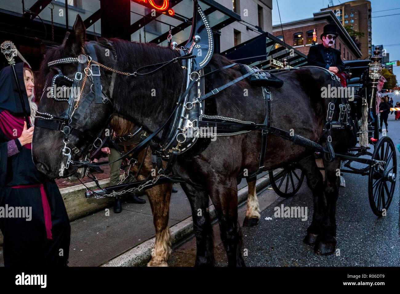 Yaletown Halloween 2020 Horse drawn hearse, Halloween, Yaletown, Vancouver, British