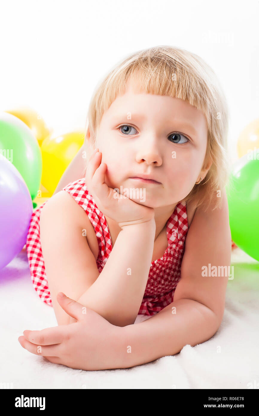 Cute Girl being serious and pensive - Stock Image
