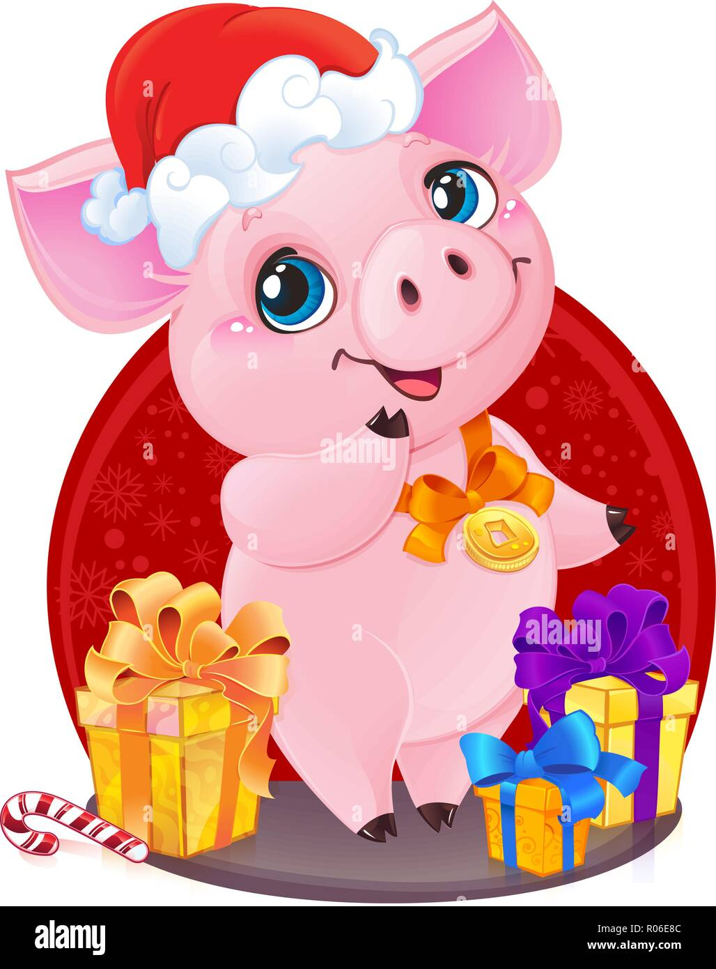 ead3de461 Yellow Earthy Pig for the New Year 2019. Cute Symbol of Chinese Horoscope.  Cute little piglet with Christmas gifts wishes you joy and happy New Year