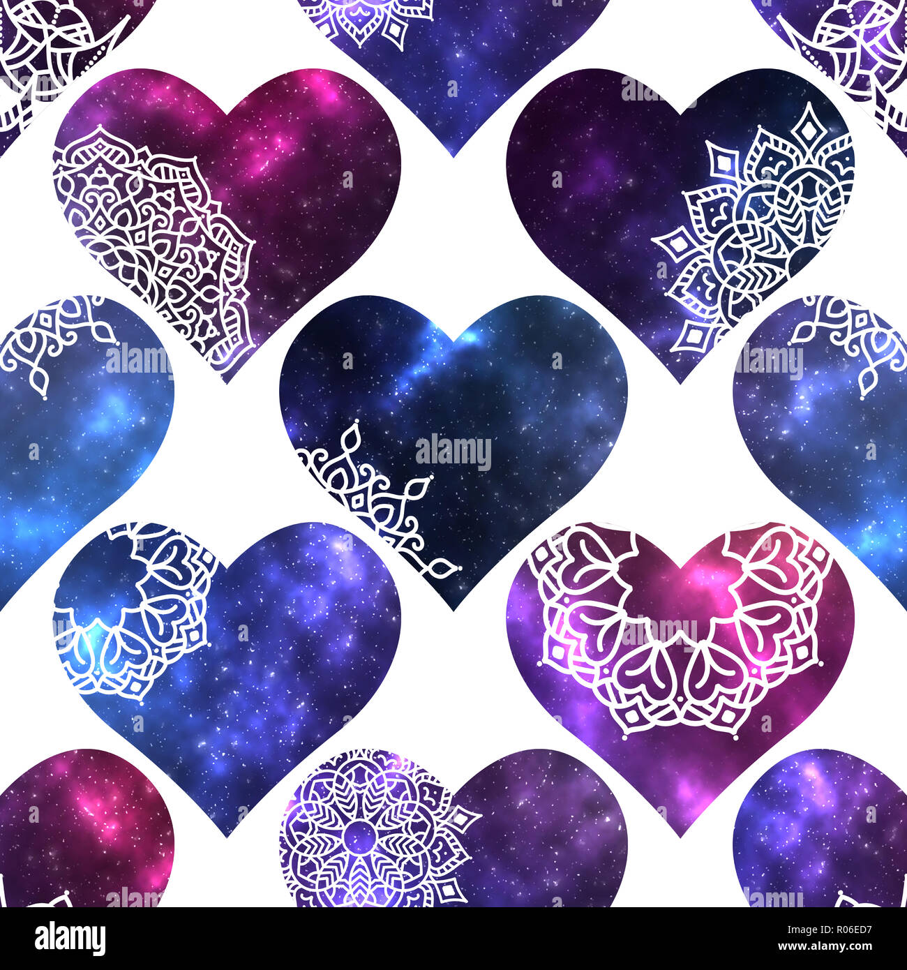 Seamless pattern with hearts shapes with cosmic texture and