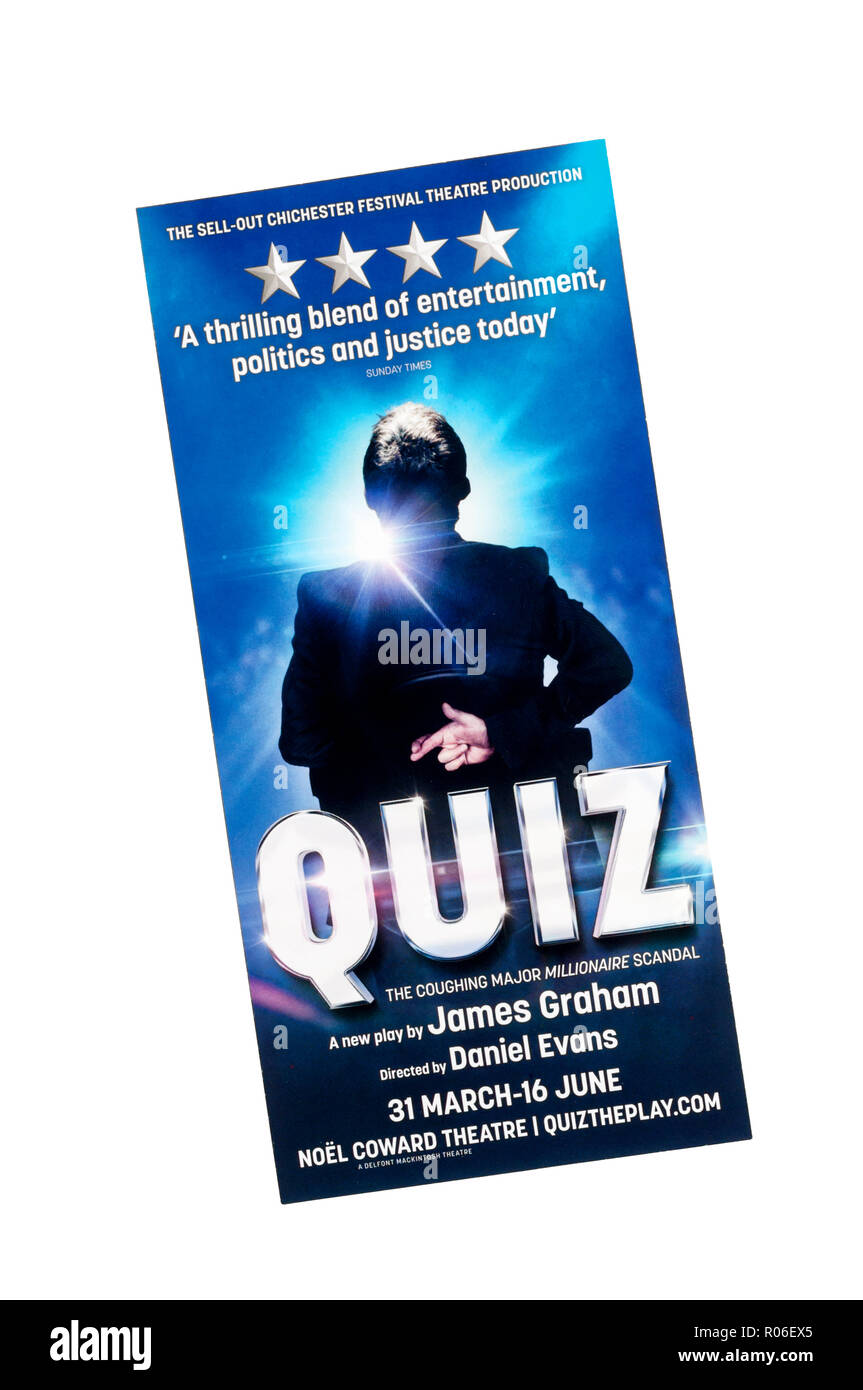 Promotional flyer for West End transfer of Chichester Festival Theatre 2017 production of Quiz by James Graham, to Noel Coward Theatre. - Stock Image