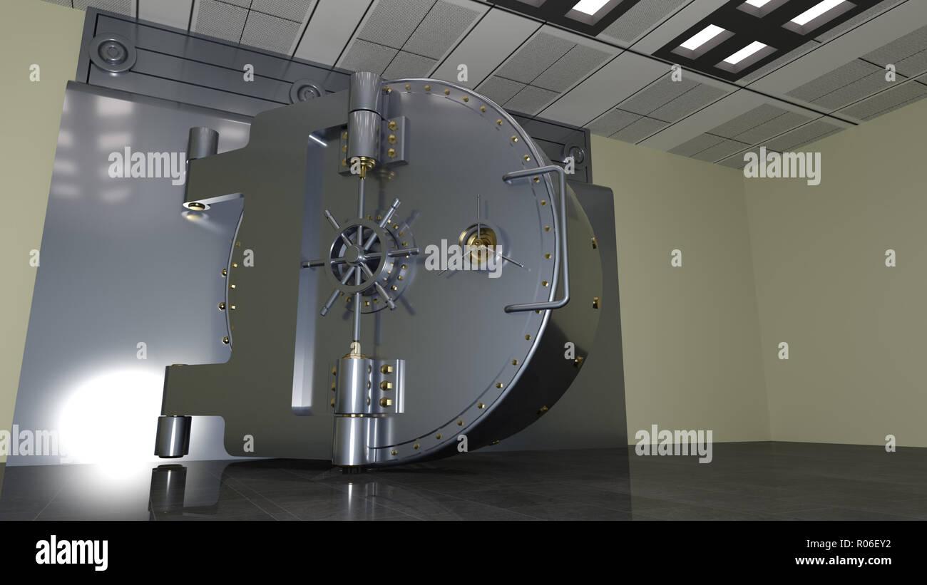 Bank safe door, large metal vault door open, 3D illustration - Stock Image