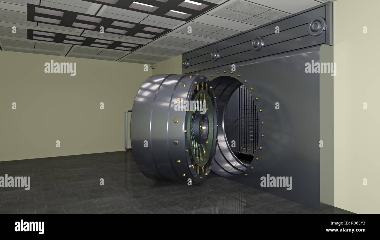 Safe door, large metal bank vault door open, 3D illustration - Stock Image