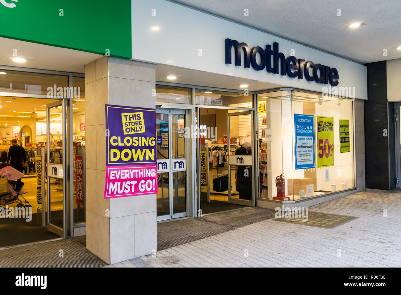 A closing down sign on a Mothercare shop in Bromley High Street. - Stock Image