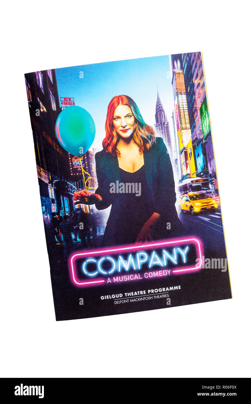 Theatre programme for the 2018 production of Company at the Gielgud Theatre. - Stock Image