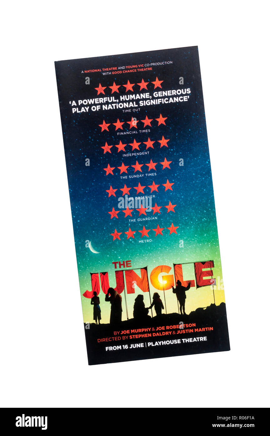 Promotional flyer for 2018 production of The Jungle by Joe Murphy & Joe Robertson, at the Playhouse Theatre. - Stock Image