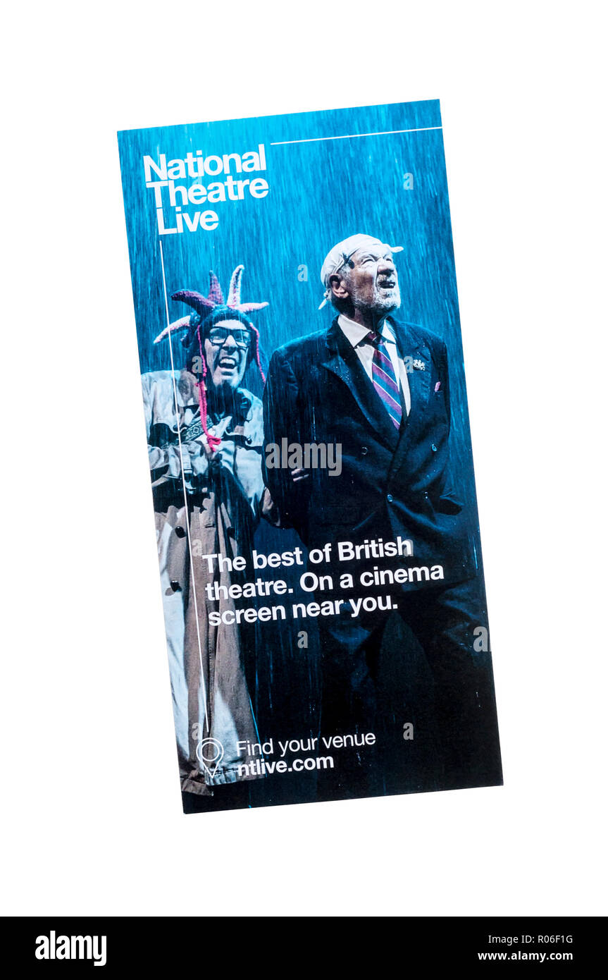 Promotional flyer for National Theatre Live.  The screening of National Theatre productions at cinemas. - Stock Image