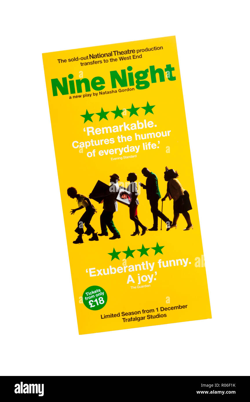 Promotional flyer for West End transfer of National Theatre 2018 production of Nine Night by Natasha Gordon, to Trafalgar Studios. - Stock Image