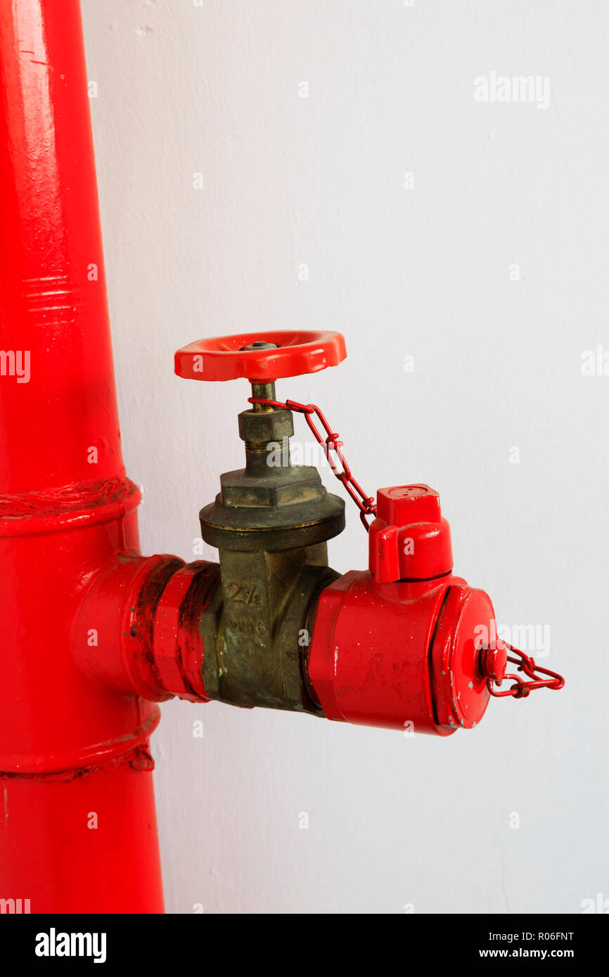Fire hose riser attachment in a high rise tower block, Nicosia, Cyprus October 2018 - Stock Image