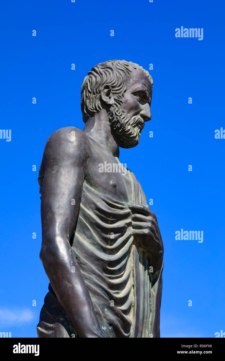 Statue of Zeno of Kition, founder of the stoic school of philosophy, Europe square, Larnaca, Cyprus October 2018 - Stock Image