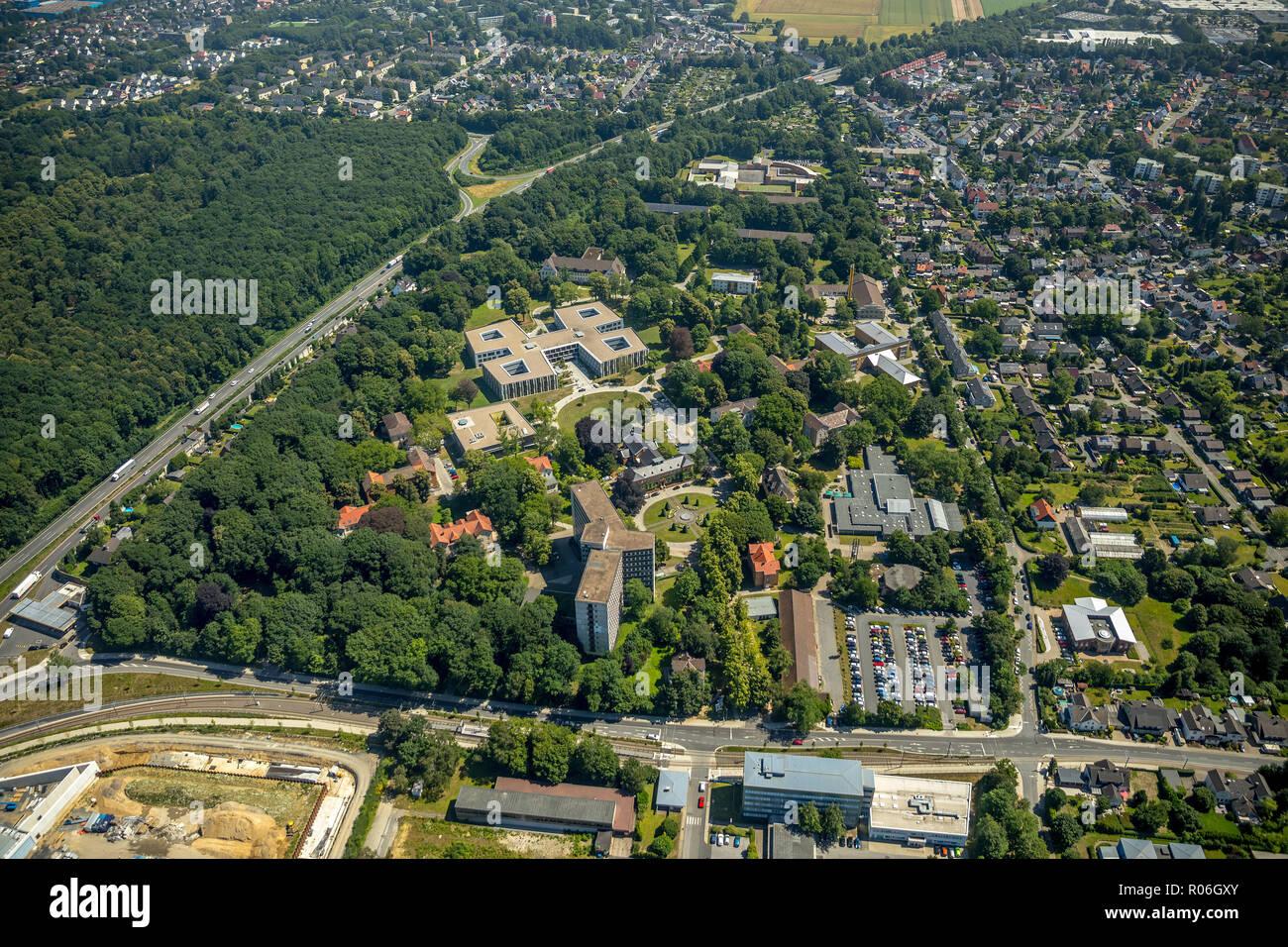 Aerial photo, LWL-Klinik Aplerbeck, Landeskrankenhaus Dortmund, Dortmund, Ruhr area, North Rhine-Westphalia, Germany, DEU, Europe, birds-eyes view, ae - Stock Image