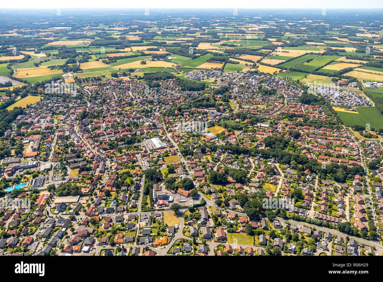 Aerial view, overview Ostbevern, Münsterland, North Rhine-Westphalia, Germany, Europe, Ostbevern, DEU, birds-eyes view, aerial view, aerial photograph - Stock Image