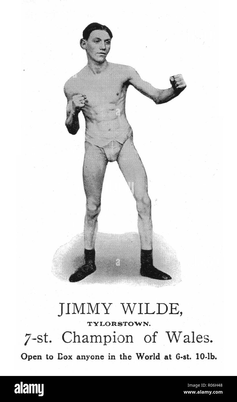 Early photo of William James JImmy Wilde, Flyweight Champion of the World (1892-1969) born in Quaker's Yard, Wales, known as the 'Tylorstown Terror'. - Stock Image