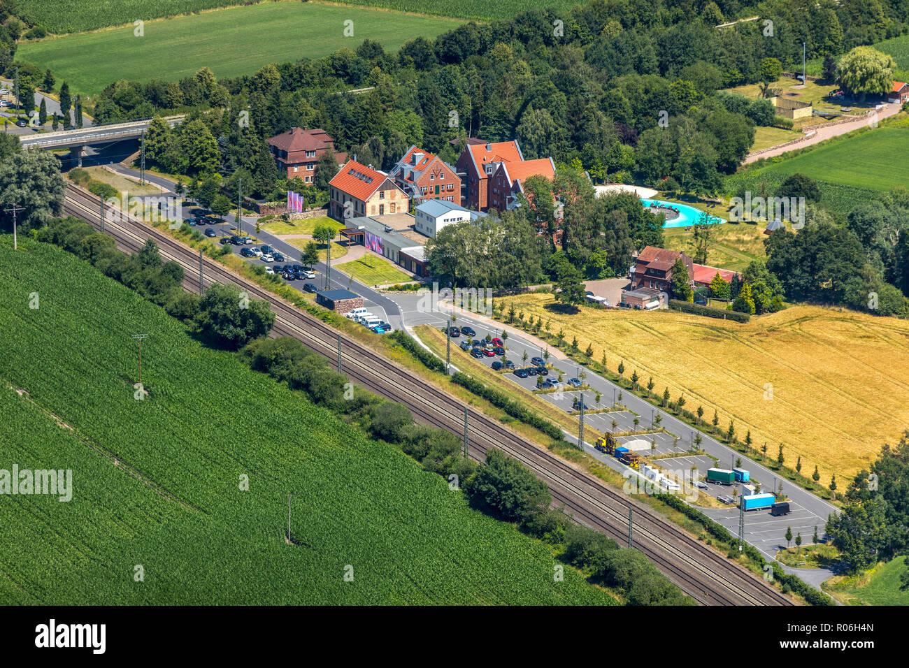 Aerial View, Hof Beverland, Hotel Beverland, Beverland Group Resort, Restaurant Kaseinwerk, Schlichtenfelde, Brock, Ostbevern, Münsterland, North Rhin - Stock Image