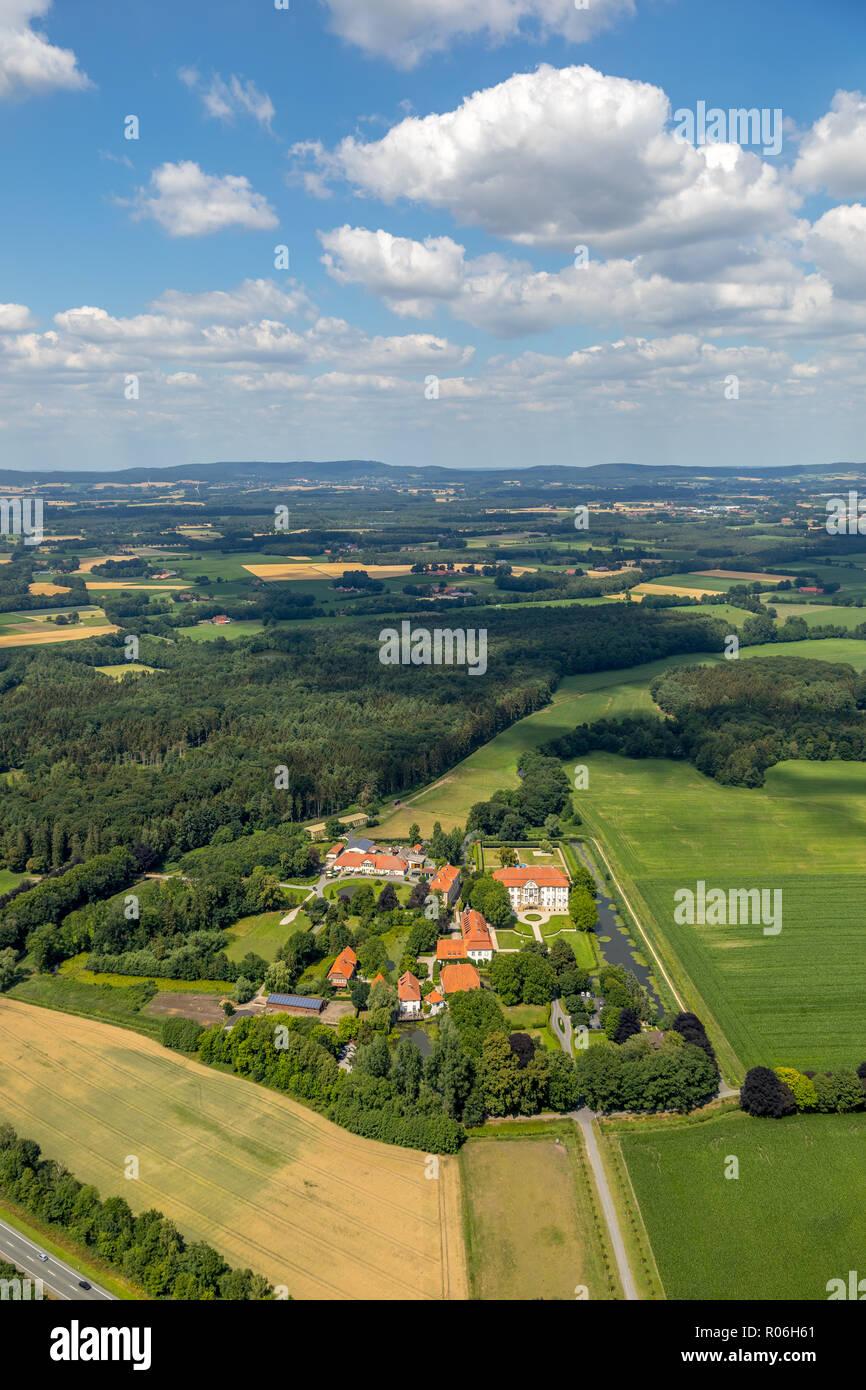 Aerial photo, overview palace complex Harkotten, castle Harkotten Wappensaal, castle Harkotten von Ketteler, castle Harkotten Grundbesitz GmbH & Co. K - Stock Image