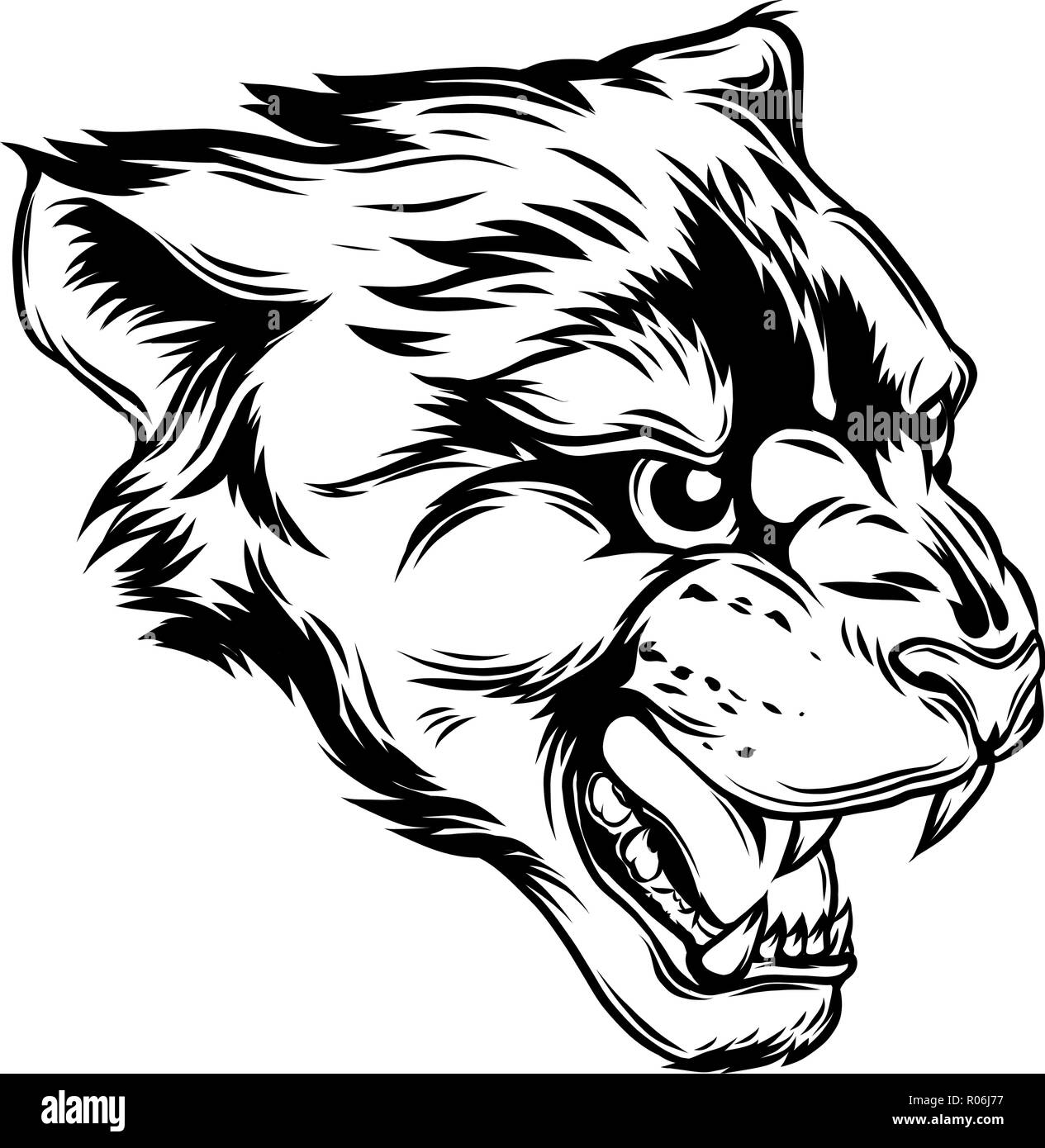 be7e7ba6433 Cougar Panther Mascot Head Vector Graphic illustration Stock Vector ...