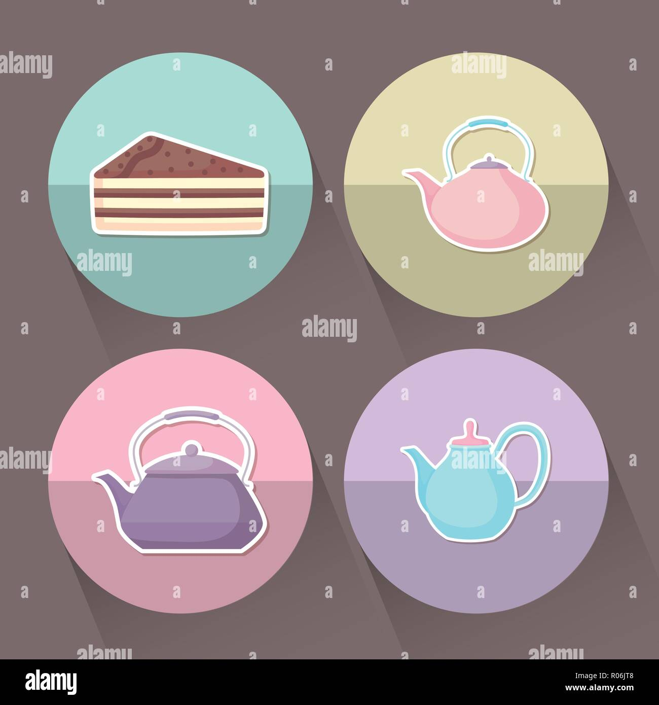set of teapots with slice of cake vector illustration design - Stock Image