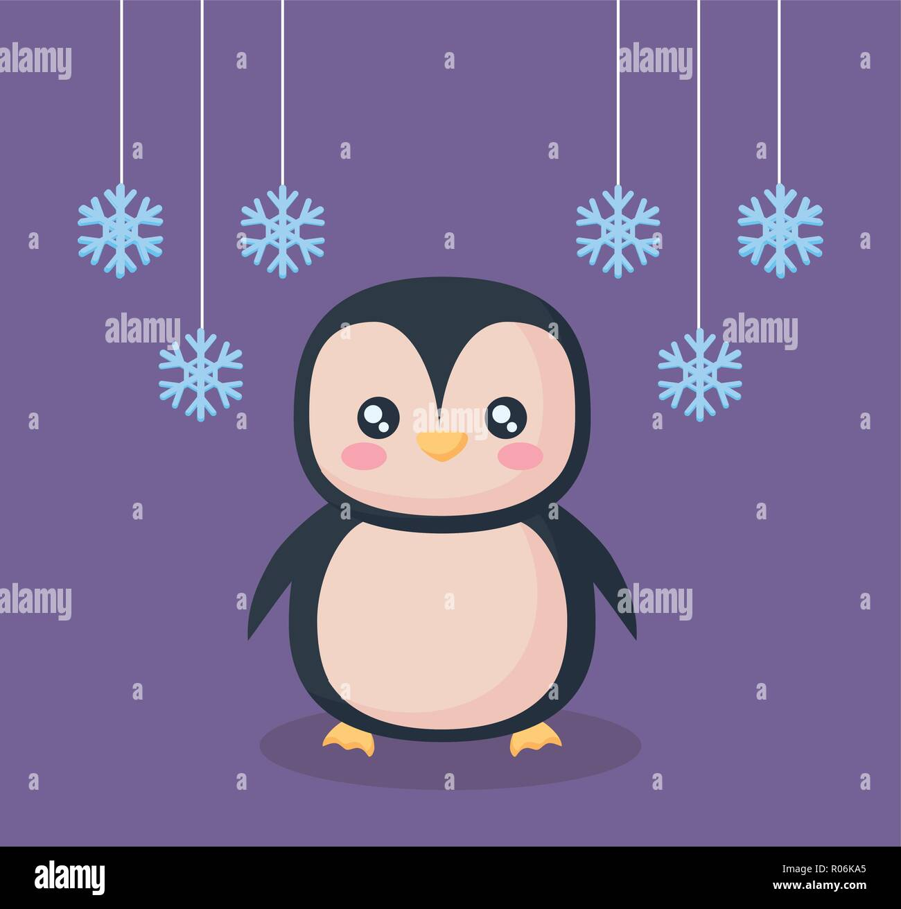 penguin with snowflakes character vector illustration design - Stock Vector