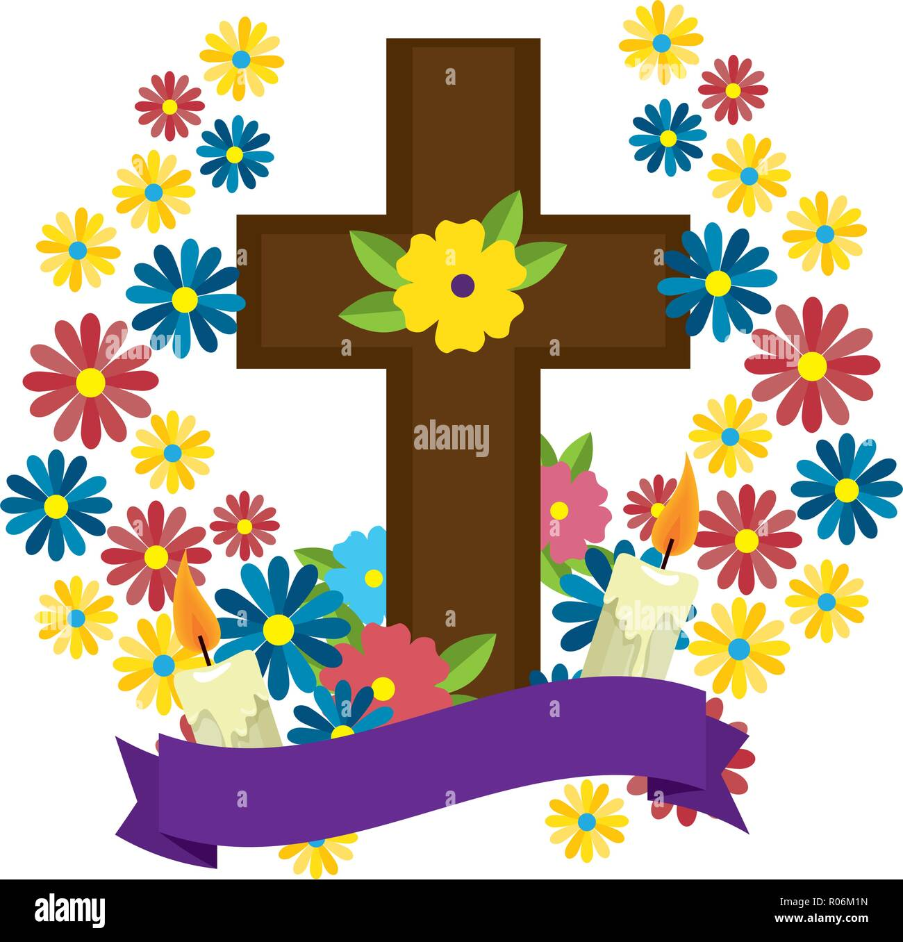 wooden cross with marigold flowers vector illustration design R06M1N