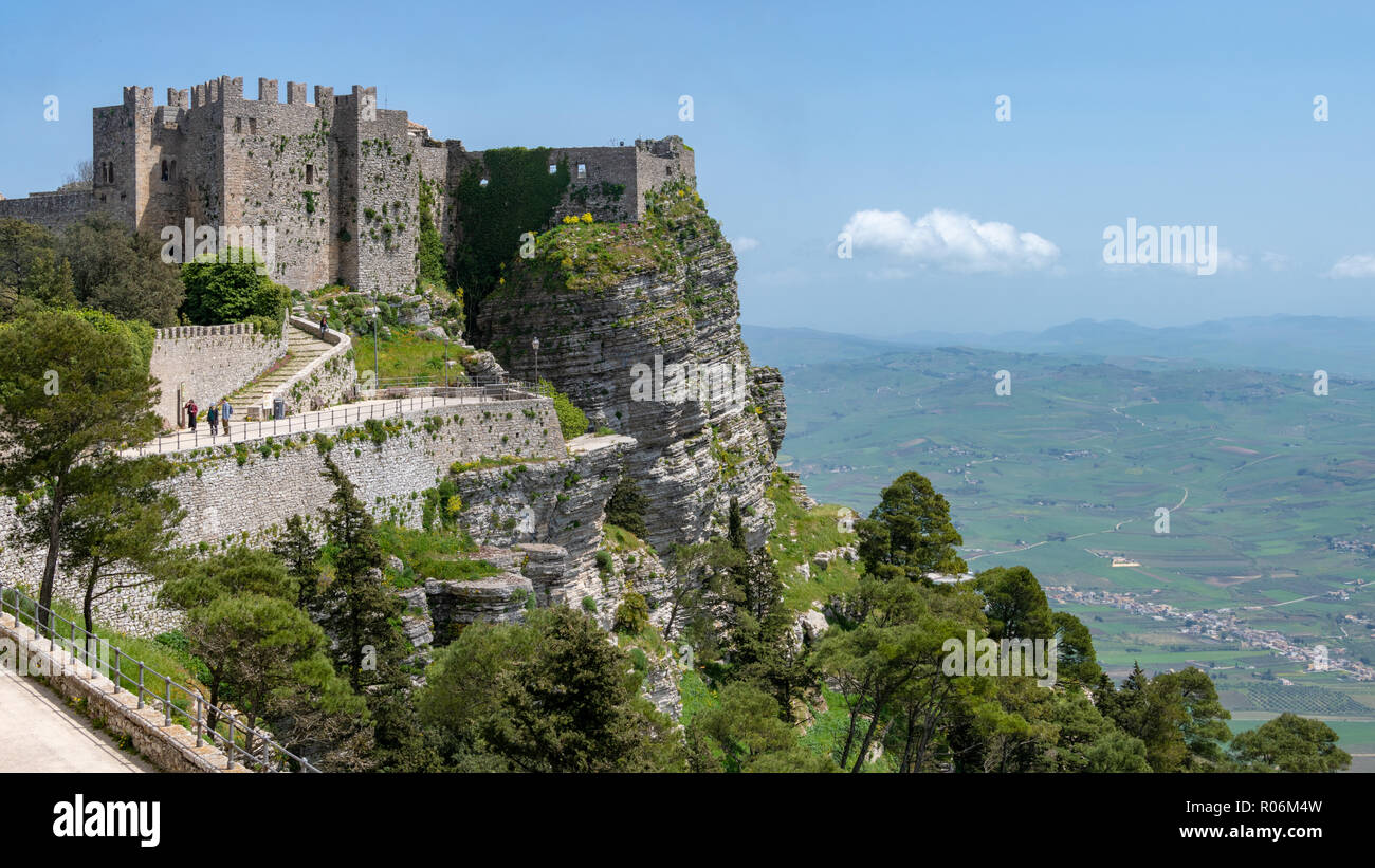 Views of Castle Fortifications, Erice, Sicily, Italy - Stock Image