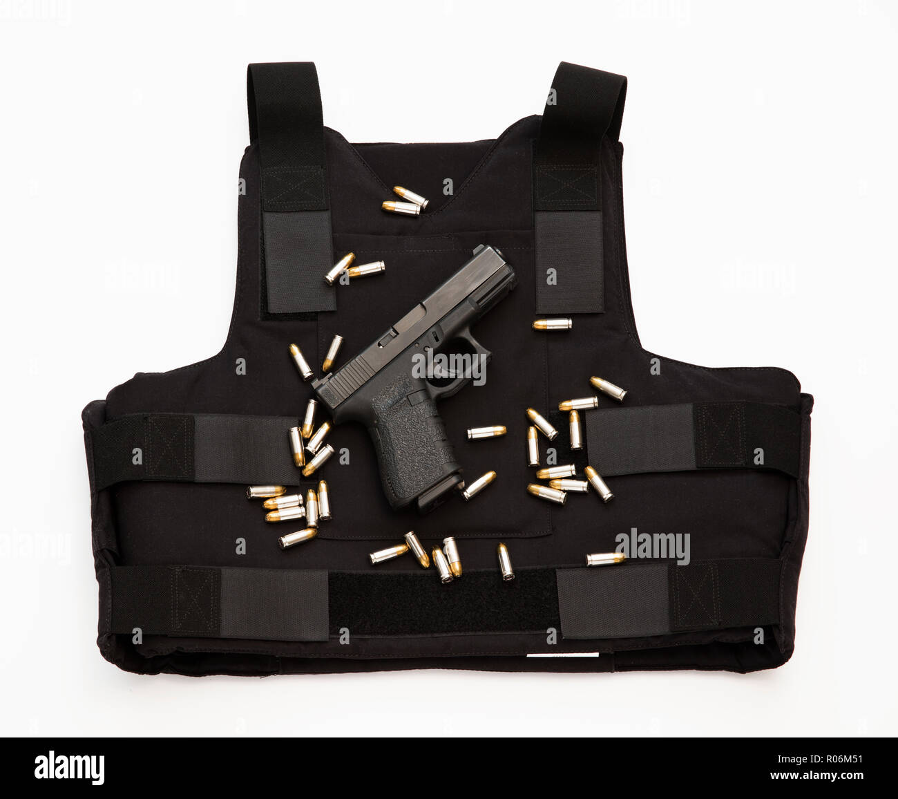 Glock semiautomatic pistol and bulletproof vest. - Stock Image