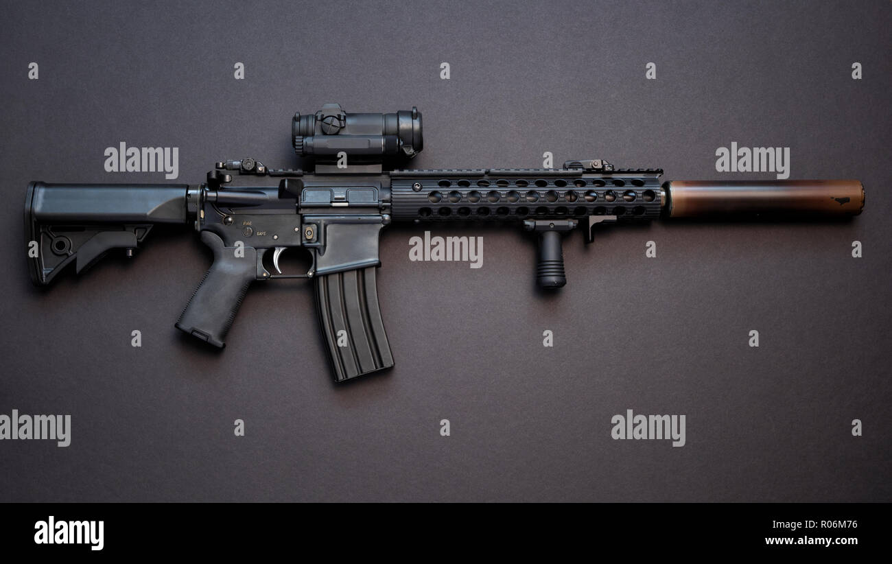 AR-15 assault rifle, also known as the M4 Carbine chambered