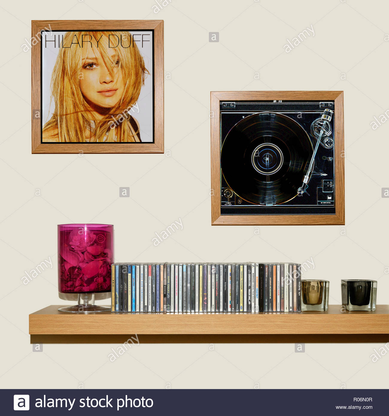 CD Collection and framed Hilary Duff  2004 eponymous album, England - Stock Image