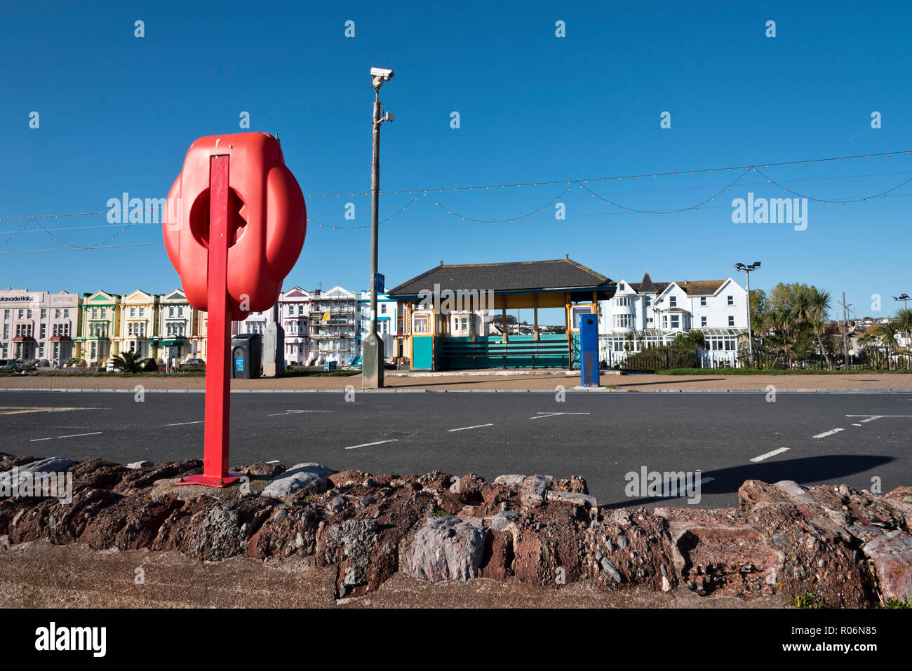 The seafront in the seaside resort of Paignton, Devon. A security camera is mounted on a pole. - Stock Image
