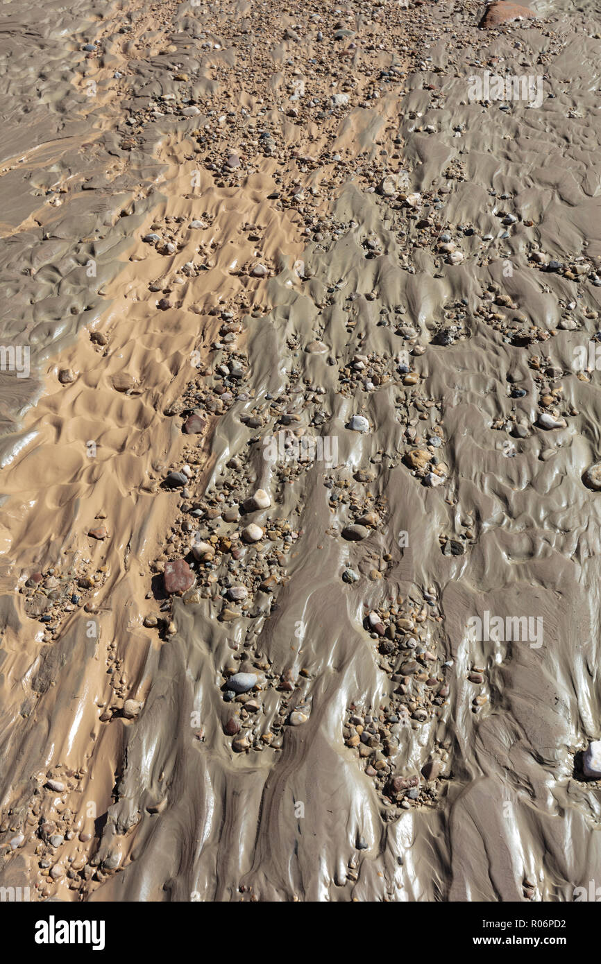 Muddy Riverbed with Sedimentary Rocks, AZ - Stock Image