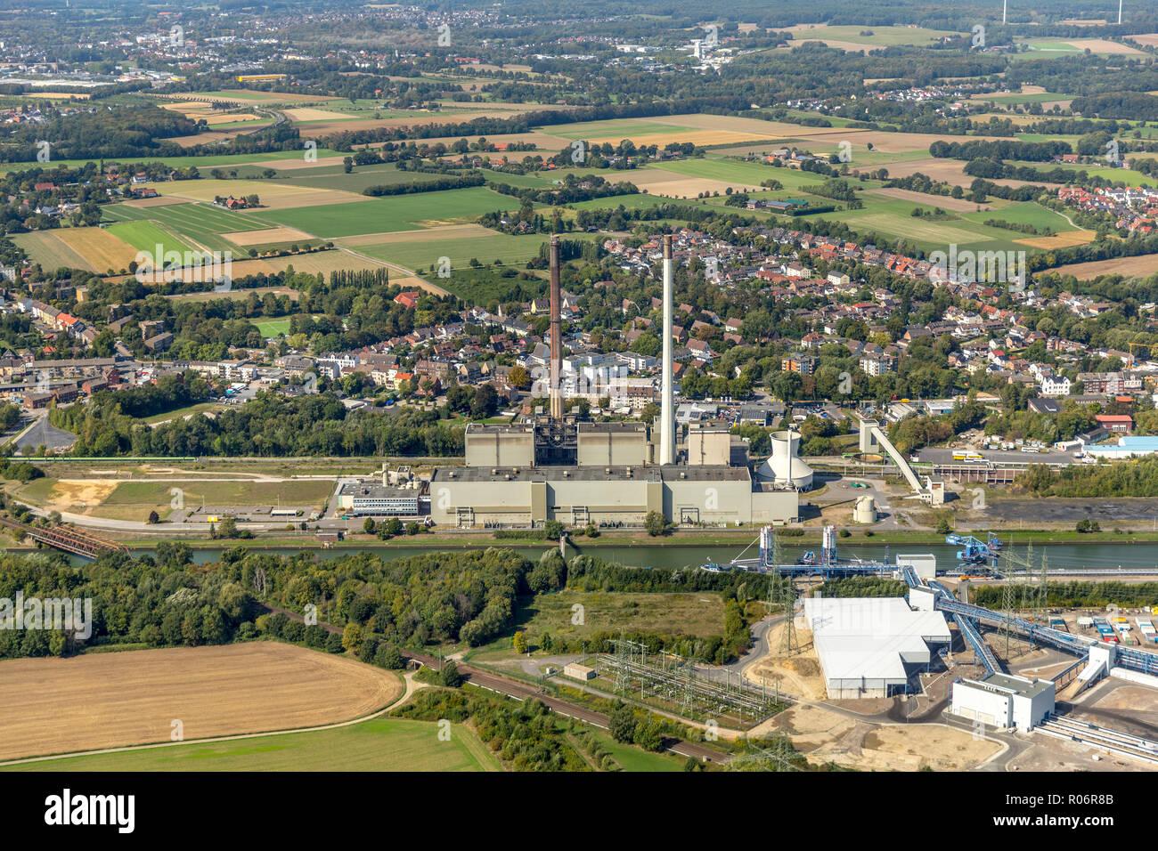 Aerial photograph, Uniper coal power plant,old powerplant EON Datteln 2,  former E.ON Datteln4 power station on the Dortmund-Ems Canal, Emscher-Lippe, Stock Photo