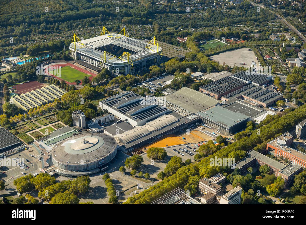 Messe Dortmund, Umbau Messeeingang, Westfalenhalle Dortmund,SignalIdunaPark, Westfalenstadion Dortmund, BVB-Stadion, Fußballstadion, , Steinerne Brück - Stock Image