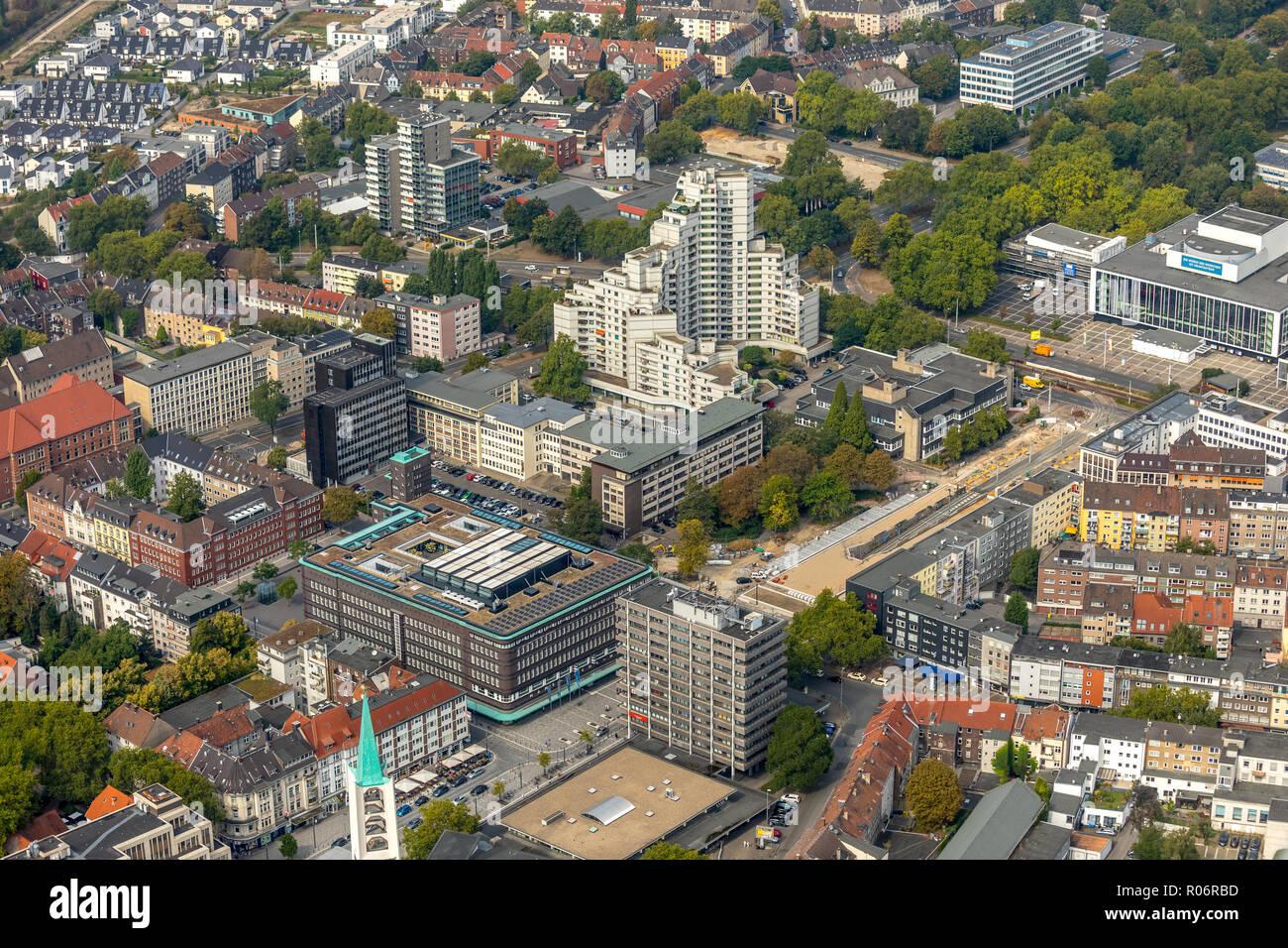 Stadtmitte Gelsenkirchen between Hans-Sachs-Haus and Musiktheater MiR, new bus station, Ebertstraße, Rathaus Gelsenkirchen, residential tower Weißer R - Stock Image