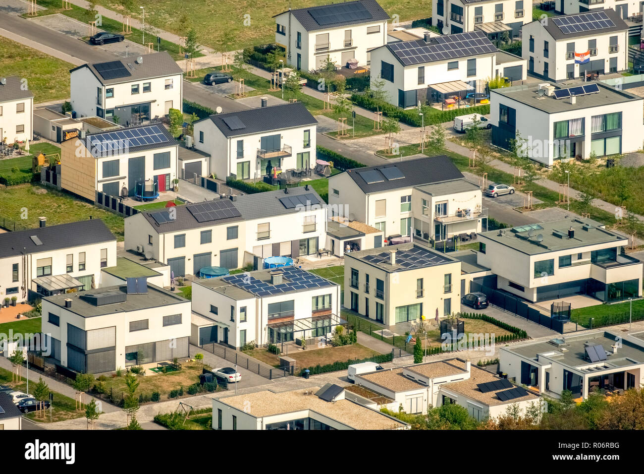 Residential area with property houses, home ownership, aerial view, Haverkamp, Gelsenkirchen, Ruhr area, North Rhine-Westphalia, Germany, DEU, Europe, Stock Photo