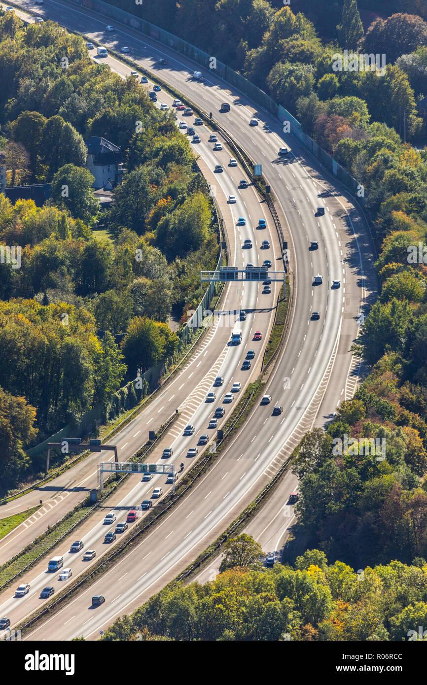 Luftbild, Autobahn A45 Nähe Kreuz Hagen, Hagen, Ruhrgebiet, Nordrhein-Westfalen, Deutschland, Europa, DEU, birds-eyes view, Luftaufnahme, Luftbildfoto - Stock Image