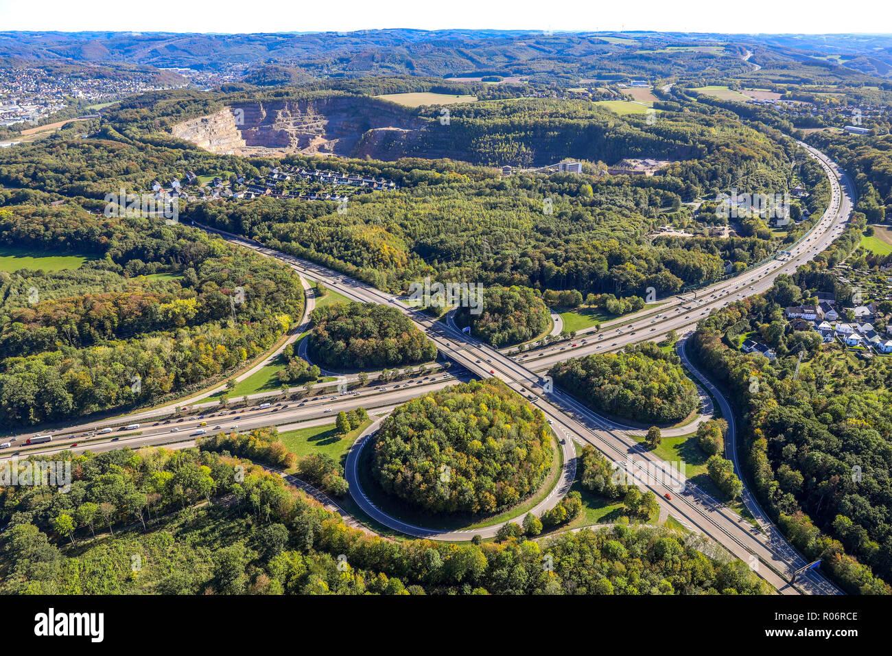 Luftbild, Kreuz Hagen A45, A46, Hagen, Ruhrgebiet, Nordrhein-Westfalen, Deutschland, Europa, DEU, birds-eyes view, Luftaufnahme, Luftbildfotografie, L - Stock Image