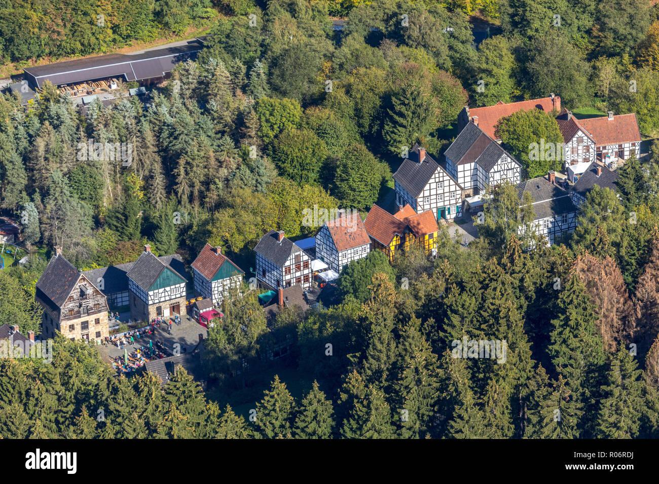 Aerial view, German blacksmith museum, zinc rolling mill, half timbered houses, Mäckingerbach Schmalsgotte, Hagen, Ruhr area, North Rhine-Westphalia,  Stock Photo