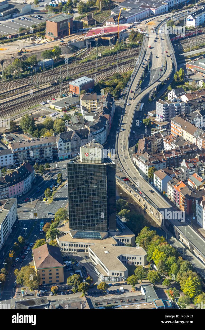 Luftbild, Agency for work Hagen, Körnerstraße, Hagen, Ruhr area, North Rhine-Westphalia, Germany, Europe, Körnerstraße, DEU, birds-eyes view, aerial v - Stock Image
